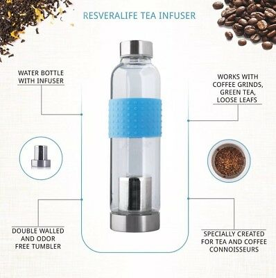 Resveralife Tea Infuser Bottle and Cold Brew Coffee Tumbler, Gets You Going.