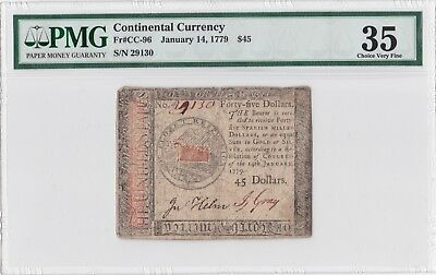 Fourty-Five Dollars! 1779 $45 CONTINENTAL CURRENCY NOTE PMG VF35 CC-96