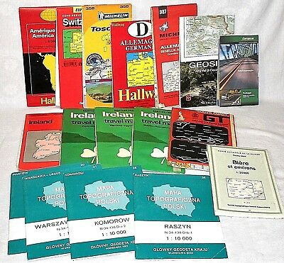 17x Folding Maps Mixed European Regions Ireland Poland Italy Switzerland Germany