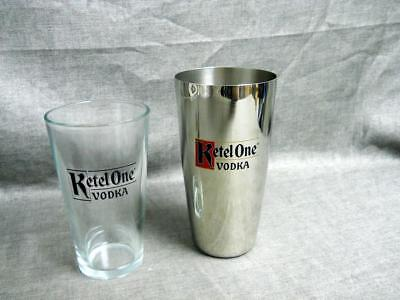 New Ketel One Vodka Metal Shaker with Glass Pint Very Cool