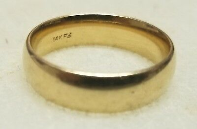 14K Yellow Gold Men's Ring Wedding Band 8.7 Grams Size 10.5