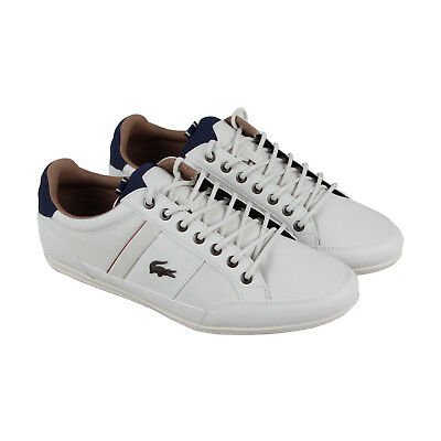 Lacoste Chaymon 118 2 Cam Mens White Leather Lace Up Trainers Shoes