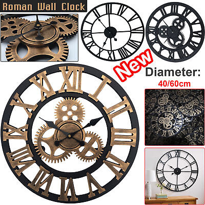 Large / Extra Large Roman Numerals Skeleton Wall Clock Big Giant Open Face Round