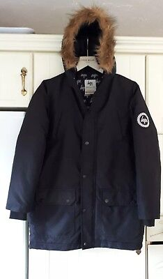 HYPE Boys Warm Padded Hooded Black PARKA COAT Age 13 in EXCELLENT CONDITION