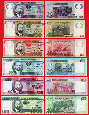 MOZAMBIQUE 20 50 100 200 500 & 1000 Meticais 2017 Pick New SC / UNC