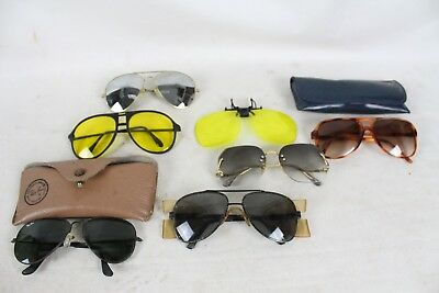 Vintage Sunglasses Lot Collection Ray-Ban Aviator Old Yellow Night Clipon Safety