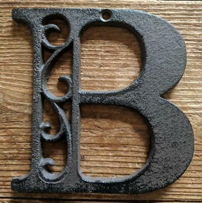 Cast Iron LETTER B Scroll Rustic Brown Metal Alphabet Signs Vintage/Rustic Style