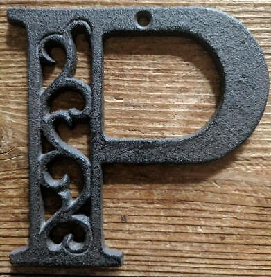 Cast Iron LETTER P Scroll Rustic Brown Metal Alphabet Signs Vintage/Rustic Style