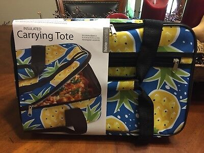 Pineapple Print Casserole Tote Insulated Carrying Tote Tropical Party Picnic