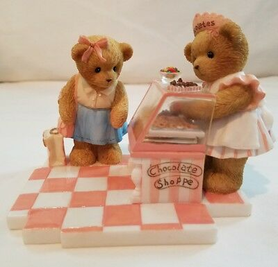 Cherished Teddies Figurine Lindsay & Danielle 2006 Club Exclusive Chocolate NIB