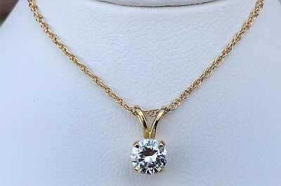 "14K Yellow Gold Round Diamond Solitaire Pendant .47Ct W/ 18"" Chain"