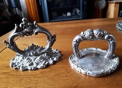 TWO Silver Plate? Art Nouveau  Handled Paperweights marked to bottoms