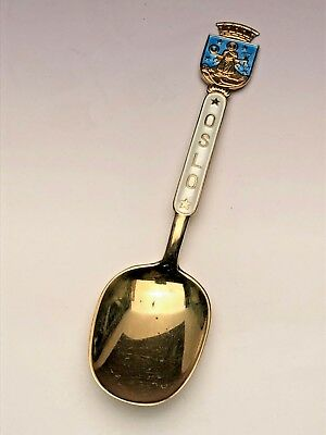 Oslo, Norway Enameled Collectora Spoon, Sterling Silver with Gold