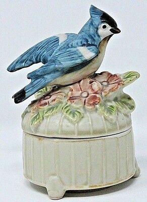 "VINTAGE Handpainted Porcelain Blue Jay Trinket Ring Box, 4 1/4"" Tall, Very Nice!"