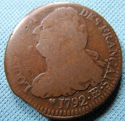 1792-BB France 2 Sols King Louis XVI 1700s Old French Revolution Bronze Coin