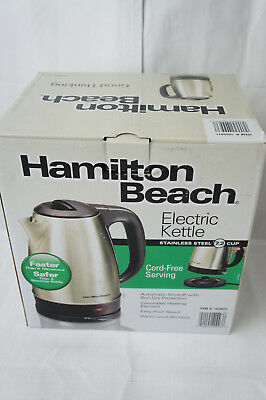 Hamilton Beach Electric Kettle Stainless Steel 7.2 Cup Cord Free Serving 40993E