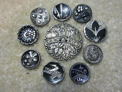 "Lot Of Antique Pewter Buttons/ ""brite Cut"" / Horseshoe/ Moon & Stars +"