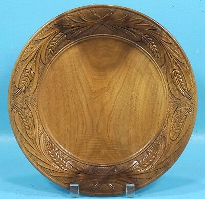 Antique Swiss Black Forest Walnut Wood Carving PLATE Brienz c1920s Wheat Relief