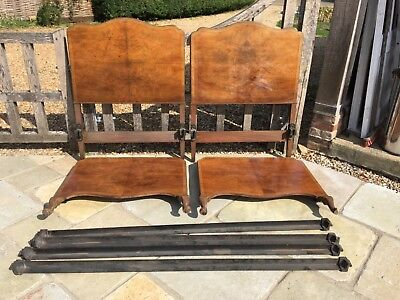 2 vintage burr walnut single beds