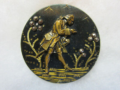 Beautiful Antique Metal French Fops Man Picture Button/ Cut Steel Accents
