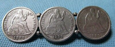 1888 1889 US Seated Liberty Silver Dimes - 3 Coin Brooch Victorian Era Jewelry