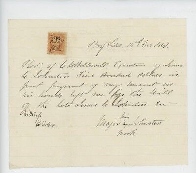 Mr Fancy Cancel Receipt $500 to former slave from estate 12/14/1867 #1788