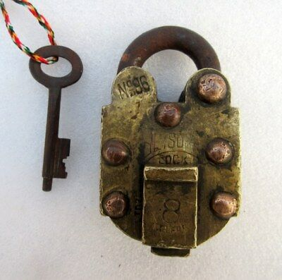 1930's Old Brass And Copper Handcrafted Solid Heavy No.96 Push Button Padlock