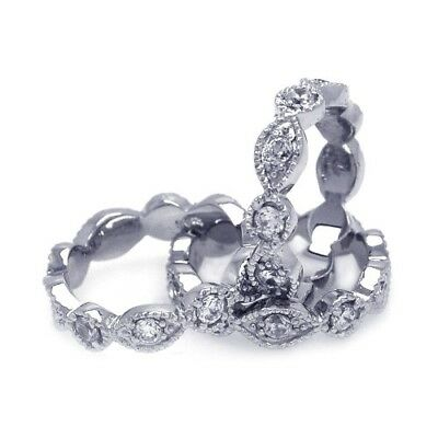 Womens 925 Sterling Silver RH Plated Marquise CZ Stackable Eternity Ring Set