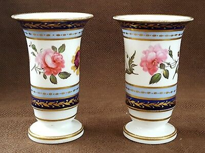 A Fine Quality Pair Of Early 19Th Century English Porcelain Spill Vases
