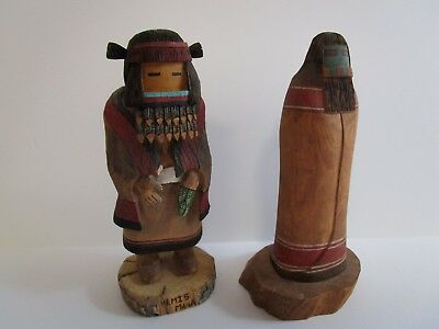 2 Kachina Doll Statue Sculpture Native American Indian Shroulote Wally  Hopi