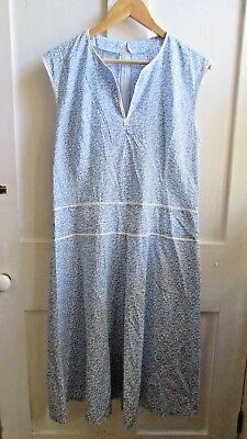 Amazing **true 50's 60's Vintage** Blue & White Floral Shift Dress Size 14 - 16