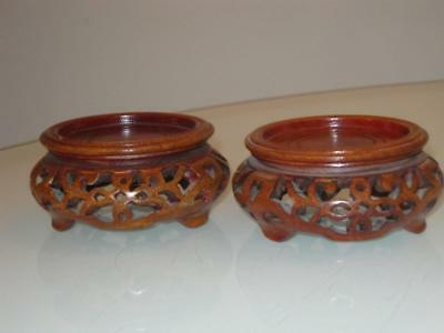 Stunning Pair Of Chinese Carved Wooden Stands