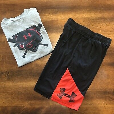 Under Armour Boys Lot Of 2 Outfit Shirt Shorts Size YMD 8/10 Red Black Baseball