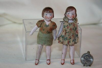 Pair All Bisque Antique German Sister/Friend Dolls Orig Clothing Jointed 1:12 NR