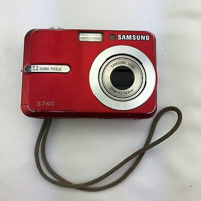 Samsung Digimax S760 7.2MP Digital Camera - Red Tested Working Light Wear