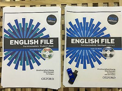English File Third Edition Pre Intermediate Students Book + Workbook + Audio USB