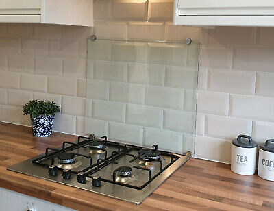 Clear Toughened Heat Resistant Glass Splashback ( Fast & Free Delivery )