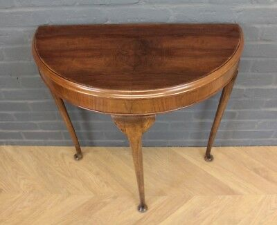 Vintage Walnut Demi Lune Side Table Hall Table ~ Queen Anne Legs
