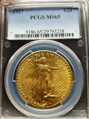 1927 $20 Saint Gaudens Gold Double Eagle PCGS MS65 Gorgeous