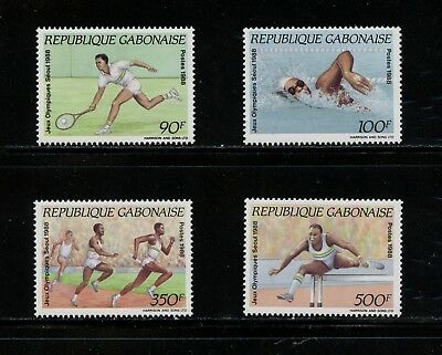 Gabon 1989 sports Olympics tennis swimming 4v. MNH N413
