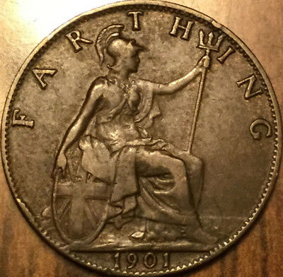 1901 UK GB GREAT BRITAIN VICTORIA FARTHING - Excellent example!