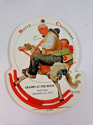 "Gramps At The Reins Christmas Ornament 1933 Post Cover Norman Rockwell 4"" Wood"