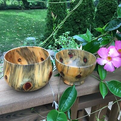 2 Hawaiian Norfolk Pine Bowls Signed Wood Knots Multicolor Gorgeous Patinas EXC