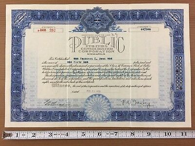 Public Utilities Consolidated Corporation Minneapolis Stock Certificate 1929