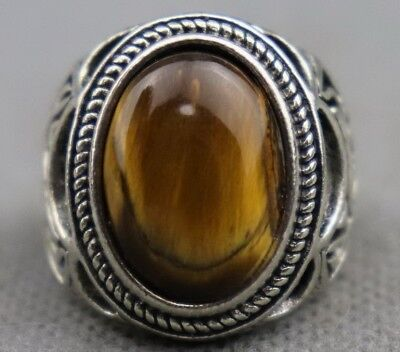 Old Tibet Silver Inlay Cat's eye Carve China Culture Delicate Decorate Ring Gift