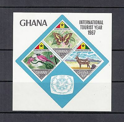 BUTTERFLIES/BIRDS/FAUNA - Ghana 1967 IMPERF sheet of 3 -(SC 318A)-MNH -A046