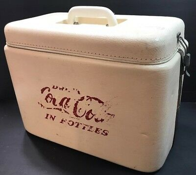 Vintage Large White Drink Coca Cola In Bottles With Insert & Locking Lid