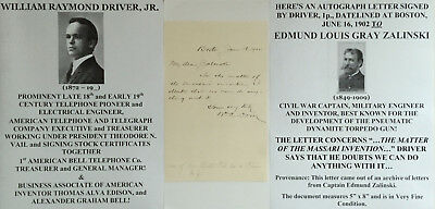 At&t Bell Telephone Pioneer Electr Engineer Inventor Edison Assoc Letter Signed!