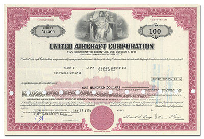 United Aircraft Corporation Bond Certificate