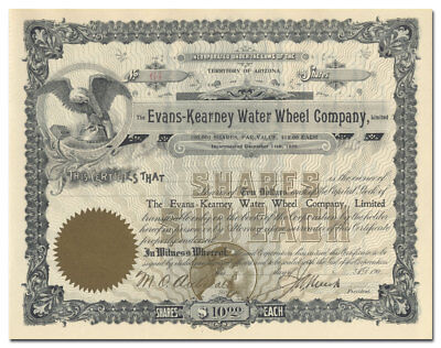 Evans-Kearney Water Wheel Company Stock Certificate (Arizona)